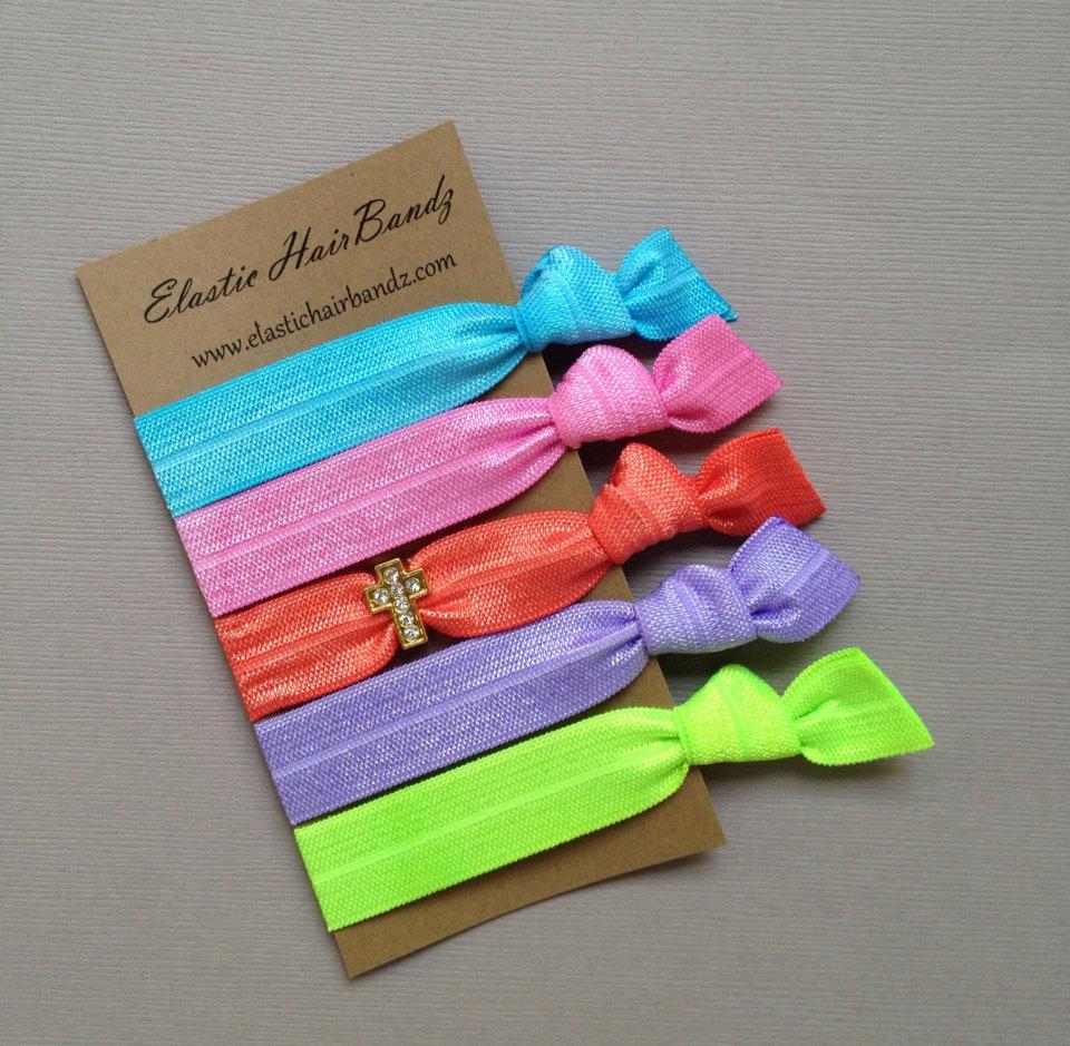 The Rhinestone Cross Hair Tie Collection - 5 Elastic Hair Ties by Elastic Hair  Bandz on c0b3e505643