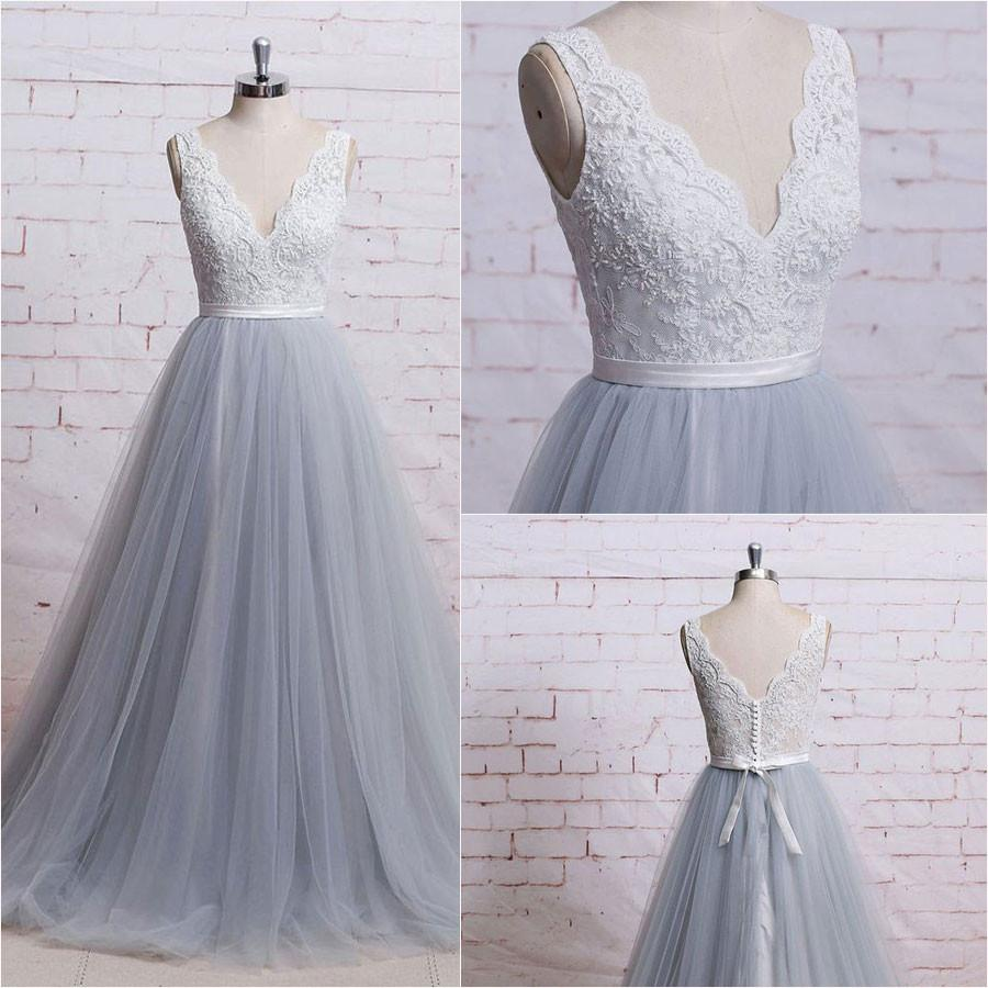 E491 Gorgeous A-line V-neck Ivory Lace Bodice Grey Tulle Skirt ...