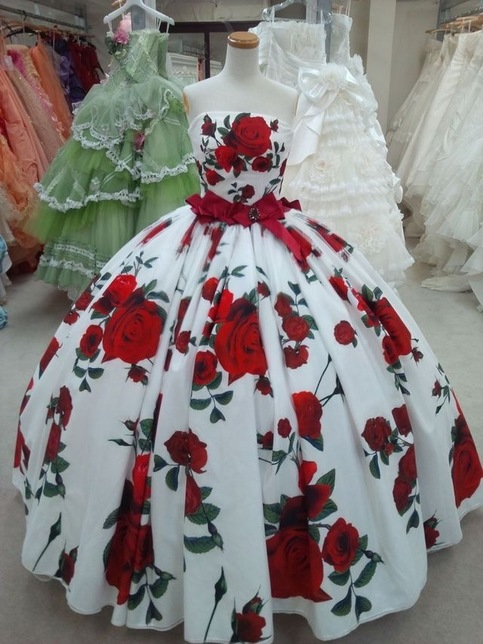 Ball Gowns Rose Floral Print Quinceanera Dresses Birthday