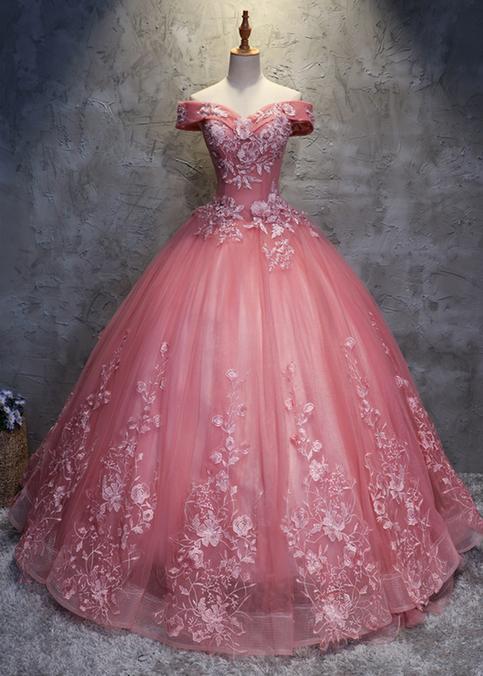 2018 Off Shoulder Pink Tulle Long Handmade Evening Dress