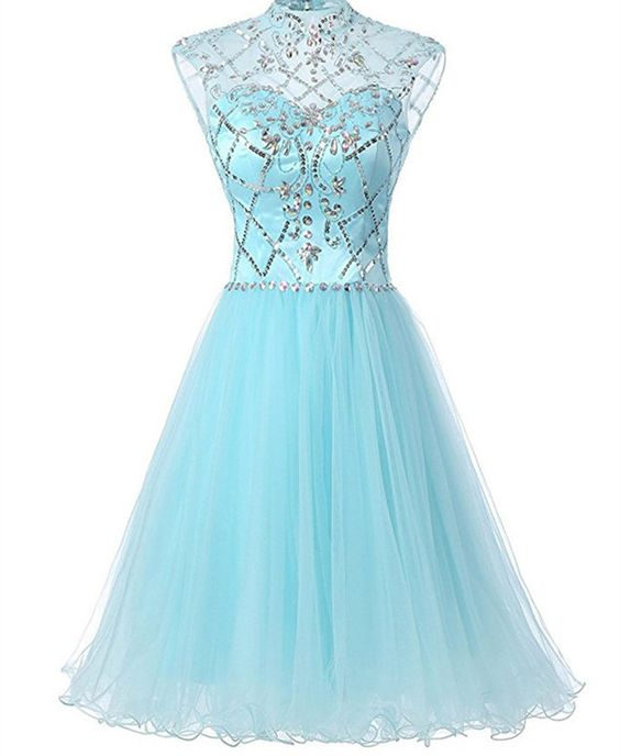 Charming Prom Dress,Tulle Homecoming Dress, Beaded Prom Gown, Short ...