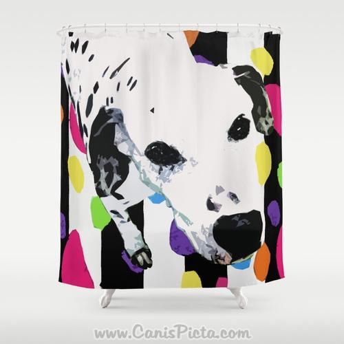 Dalmatian Spot On Neon Shower Curtain 71x74 Decorative Modern Bath Bathroom Home Hot Pink