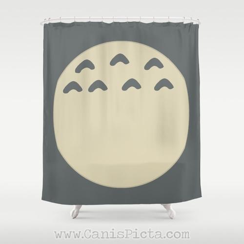 Totoro Tummy Kawaii My Neighbor Shower Curtain 71 X 74 Anime Decorative Catbus Grey
