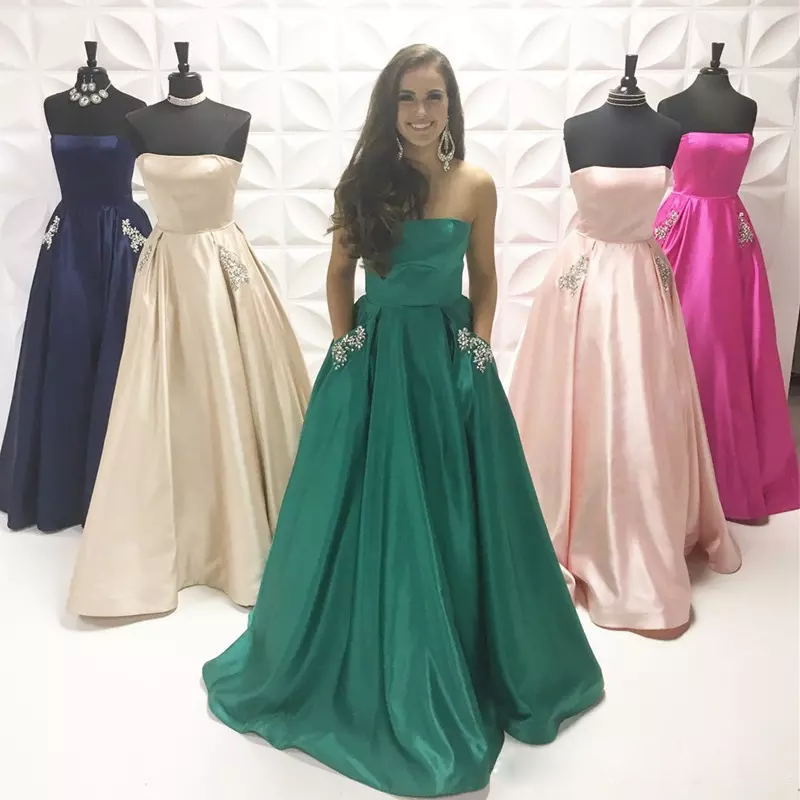 Gorgeous Green Strapless Satin Prom Dress A Line Formal Gown With