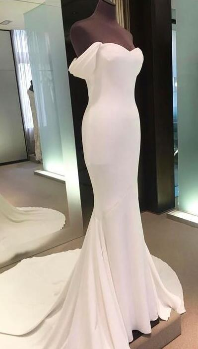 White prom Dress,Off Shoulder long prom dress,mermaid cheap Prom ...