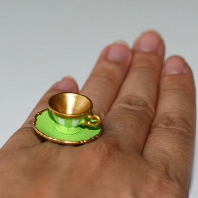 Kawaii Cute Miniature Food Ring Green Teacup And Saucer