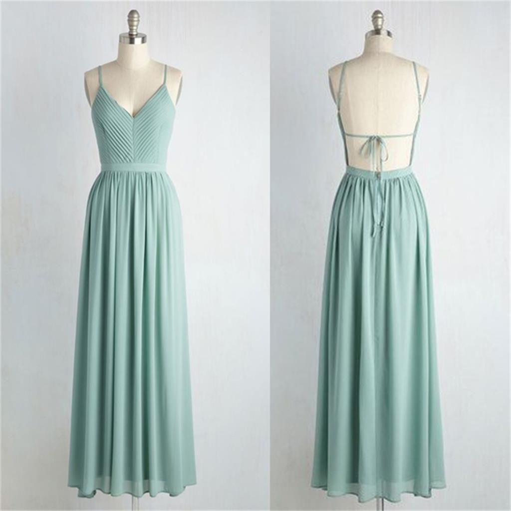charming long bridesmaid dress, V neck Backless straps bridesmaid ...