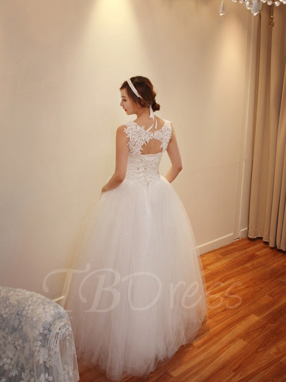 W203 Scoop Neck Beading Lace Ball Gown Tulle Plus Size Wedding Dress ...