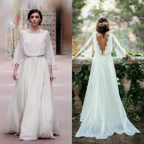 Ivory Chiffon Lace Long Elegant Beach Wedding Dresses,Flowy ...