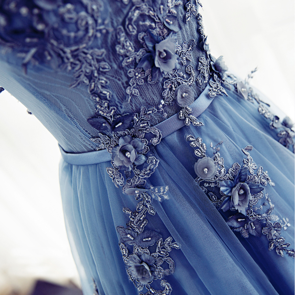 Blue Cap Sleeve Lace Evening Prom Dresses, Long Party Prom Dress ...