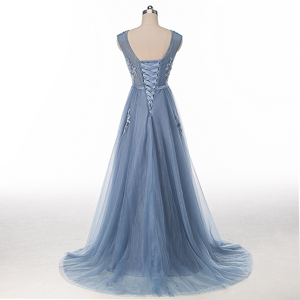 Dusty Blue Cap Sleeve Lace Evening Prom Dresses, Sexy Backless ...