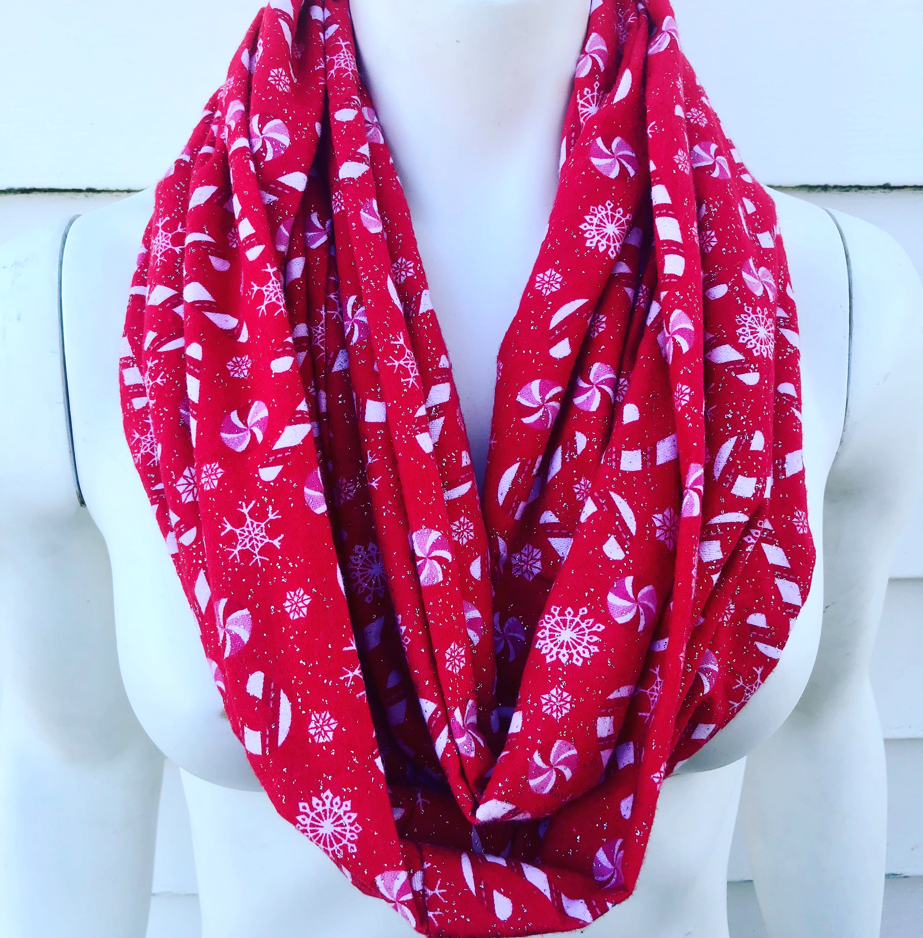christmas scarf candy cane red flannel infinity scarf