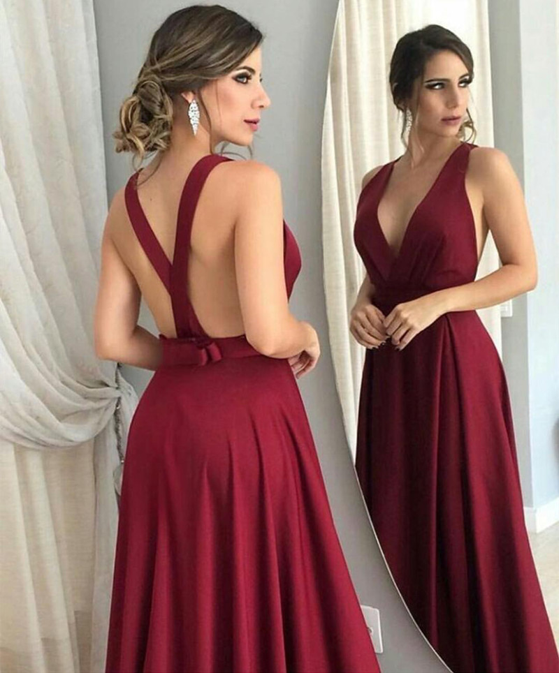 Red Open Back Prom Dress