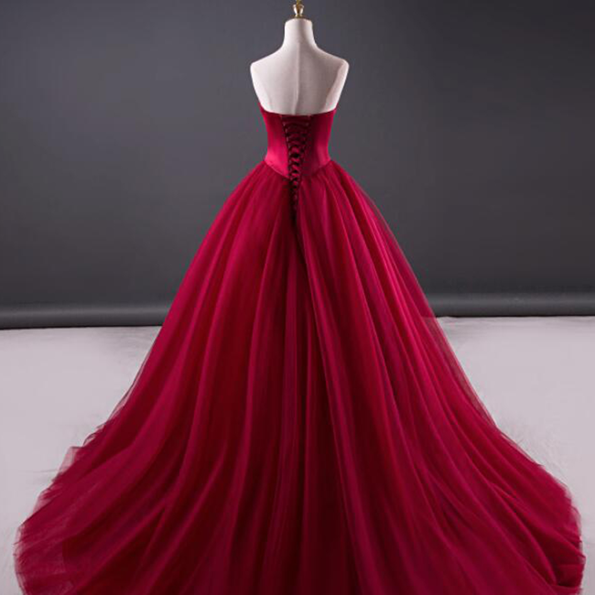Burgundy tulle strapless sweetheart neckline long evening dress ...