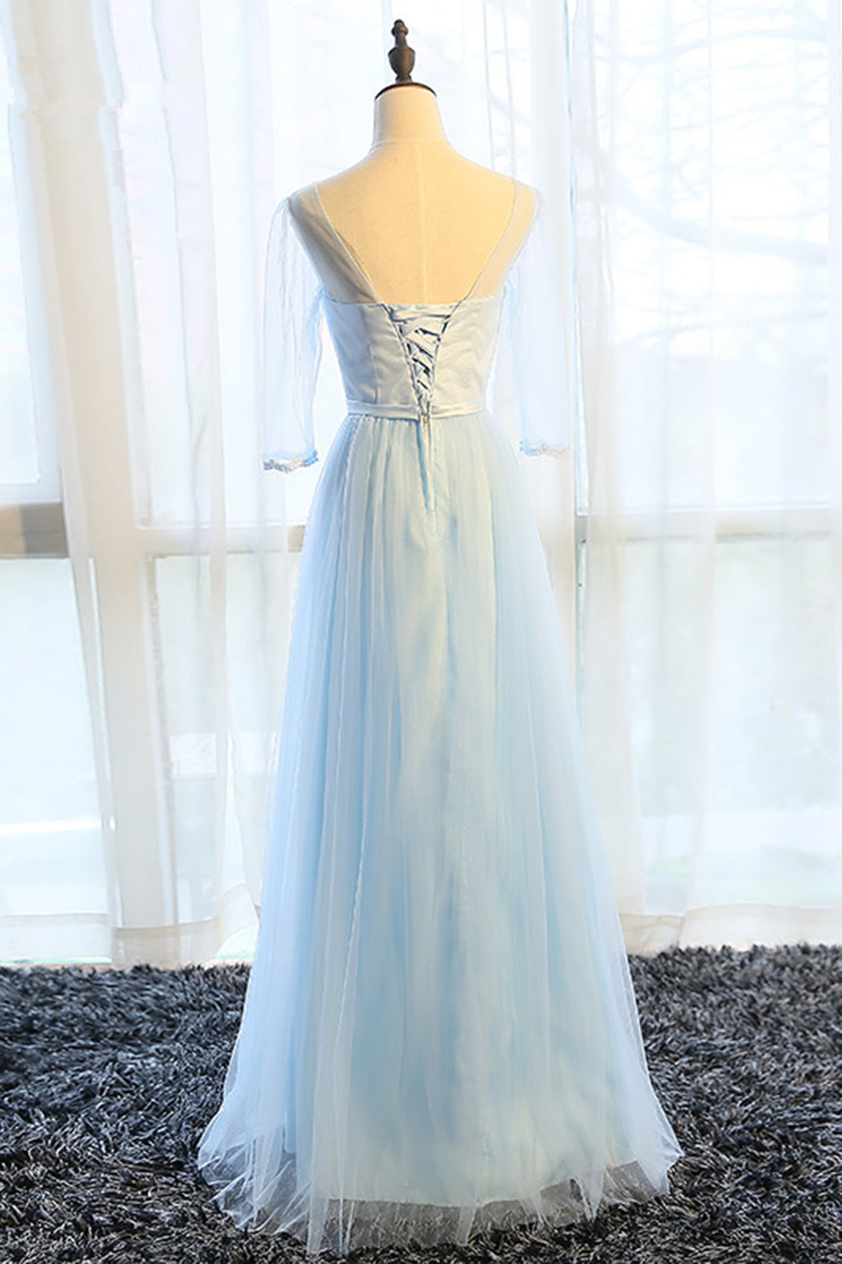Simple pure blue V neck long bowknot senior prom dress with mid ...