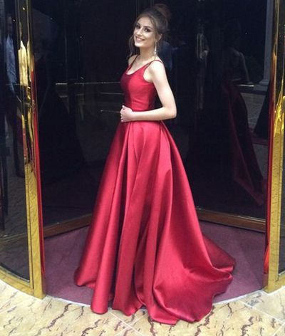 Elegant Red Long Prom Dress Evening Gowns
