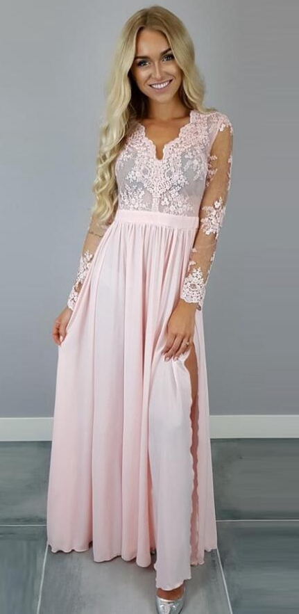 Long Prom Dress with Sleeves 2018,Prom Dresses,Evening Gown ...