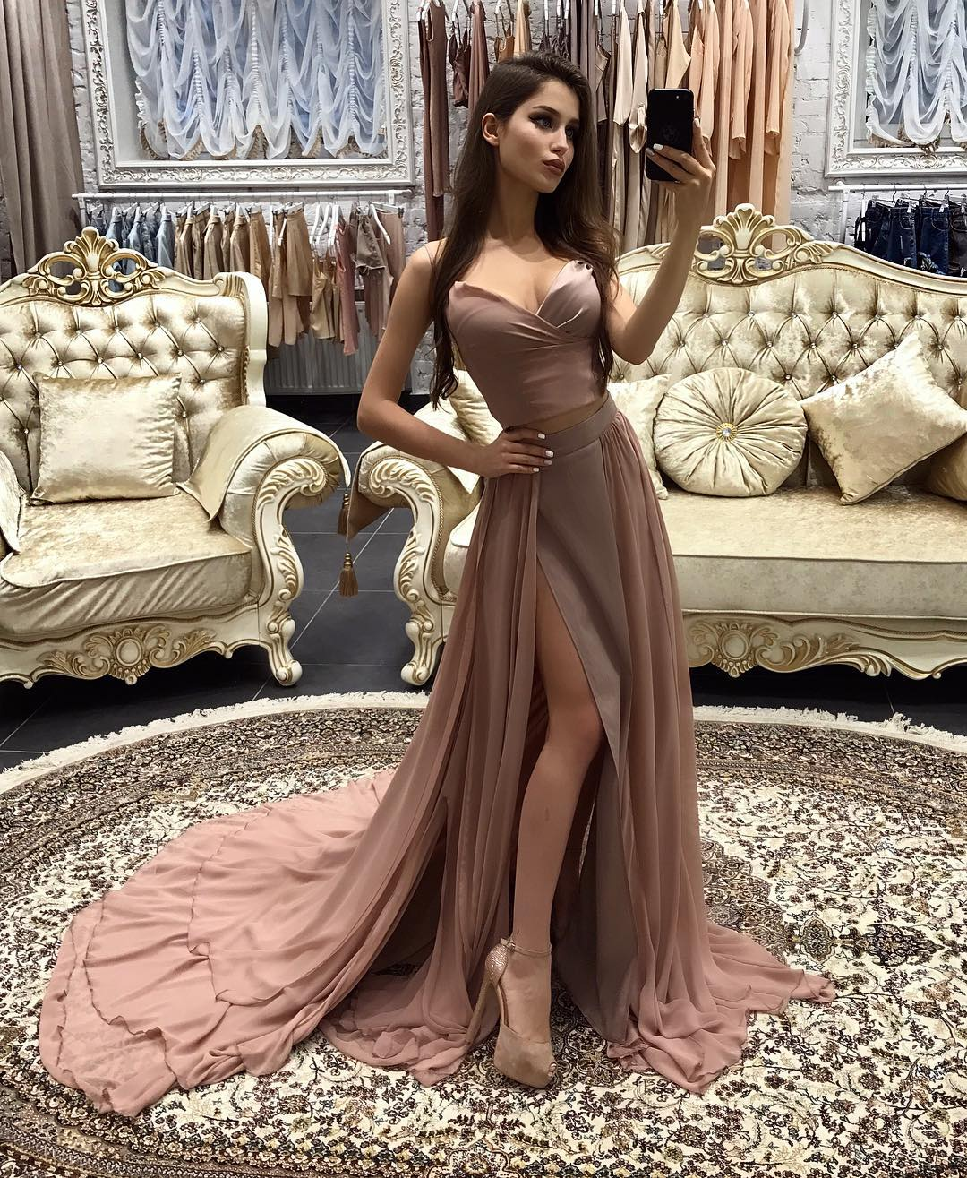 Elegant Sweetheart Two Piece Evening Dress A-Line Prom Dress Long ...