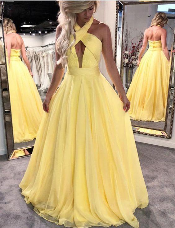 Halter Yellow Long Prom Dresses with Keyhole · dressydances · Online ...