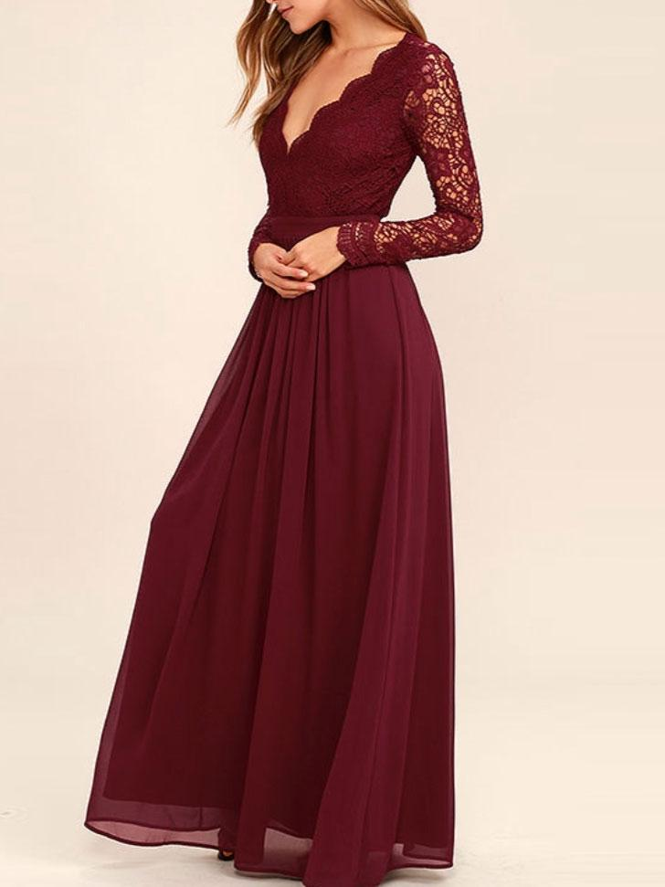 Dark Red Long Sleeve Lace Long Bridesmaid Dresses, Cheap Chiffon ...