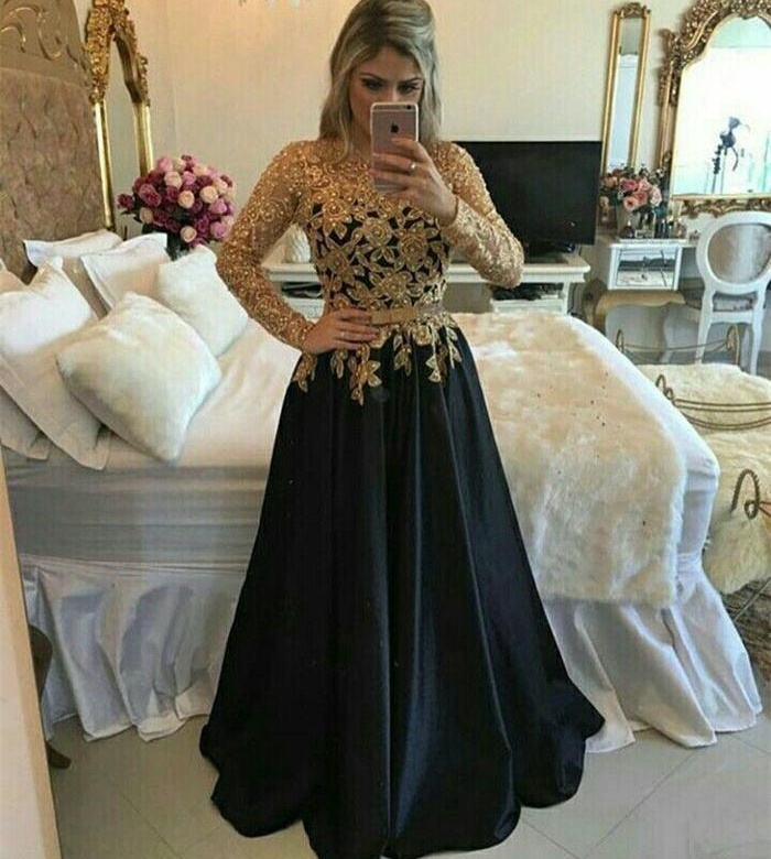 Black And Gold Long A-line Prom Dresses,Modest Long Sleeves Lace ...