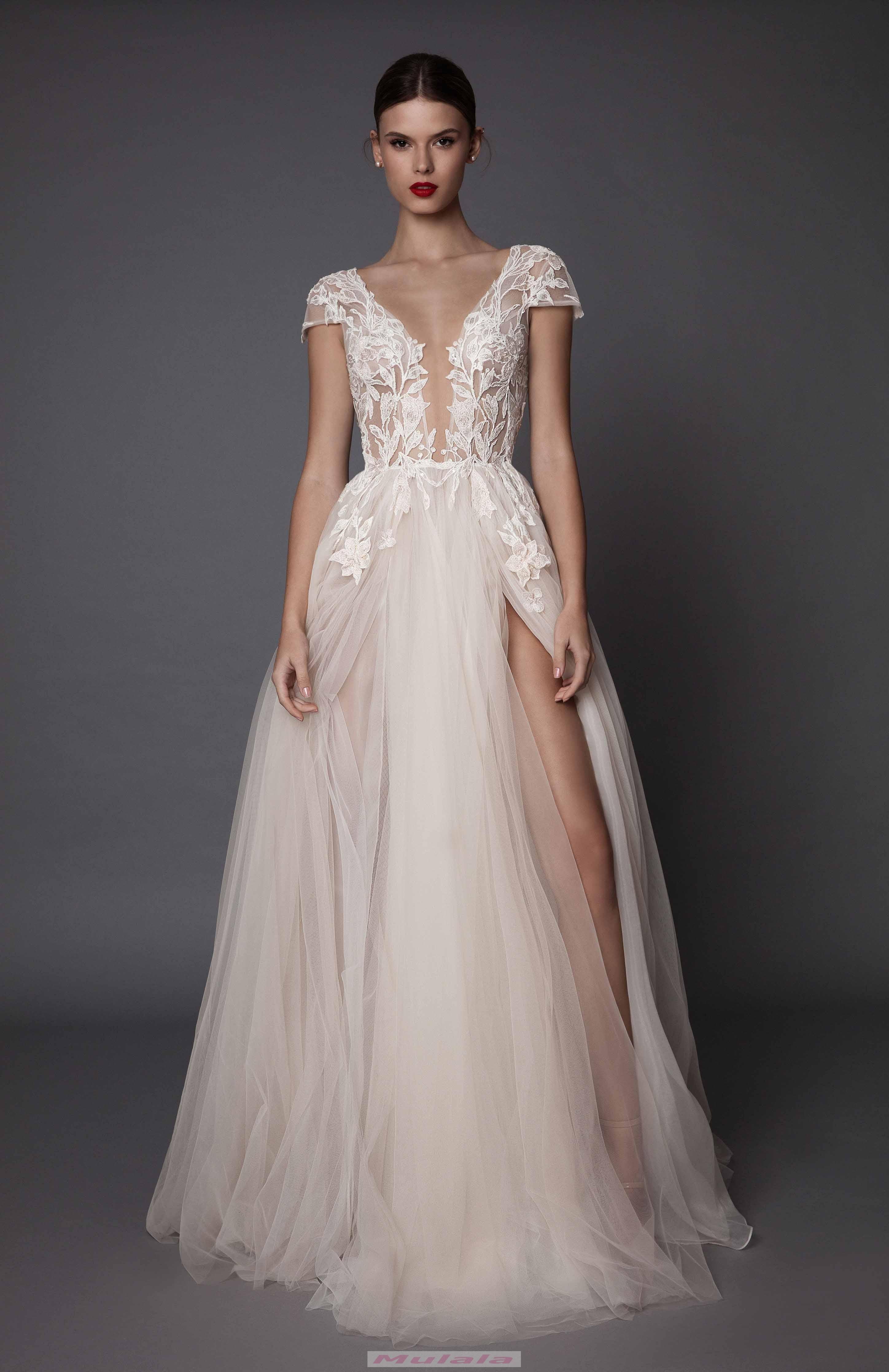 2018 Berta Lace Appliques Prom Dresses Cap Sleeves Deep V Neck Side ...