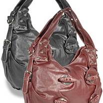 Side Gathered Decorative Fashion Handbag - Burgundy