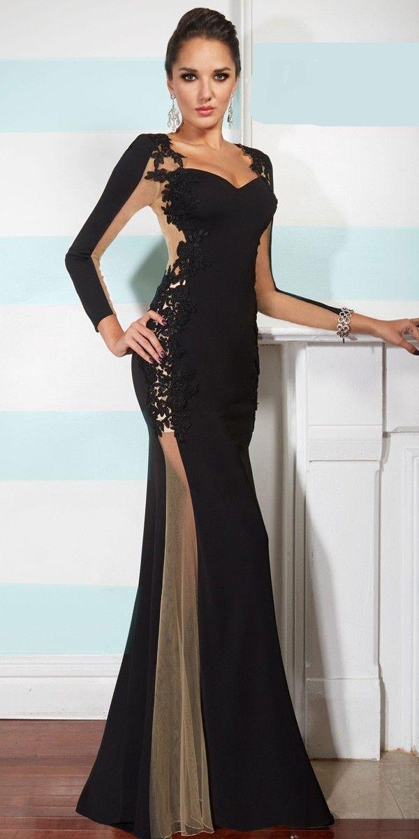 2018 Prom Dresses Gorgeous black chiffon dress Prom dresses special ...