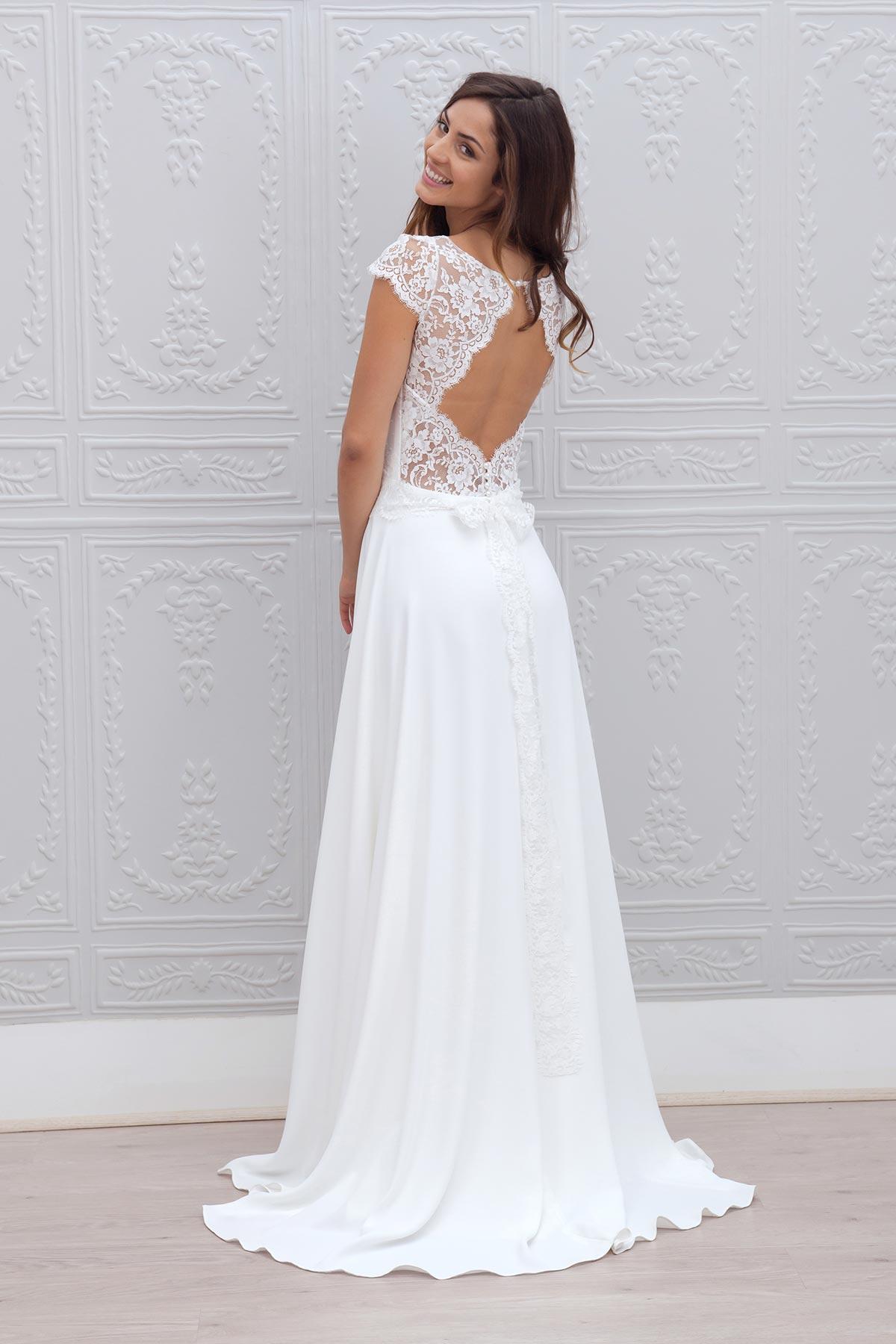 Lace over Chiffon Scoop Neckline Floor Length Wedding Dress Open ...