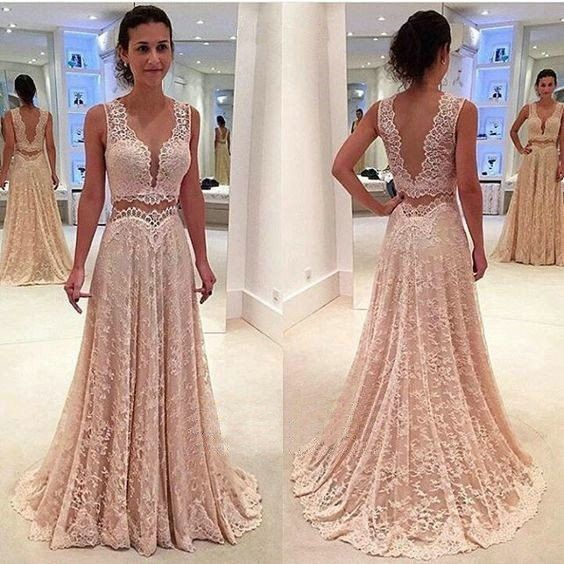 Deep V Neck Unique Long V Back Lace Prom Dresses,Long Prom Dress ...