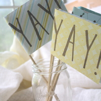 Yay Flags - Stamped by Hand - Ceremony/Party Decor - Thumbnail 1