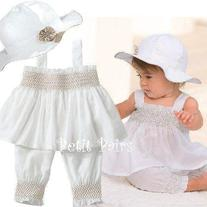 Spunky Kids Brand 3 Piece Summer White Set Swing top bubble pants and hat to match