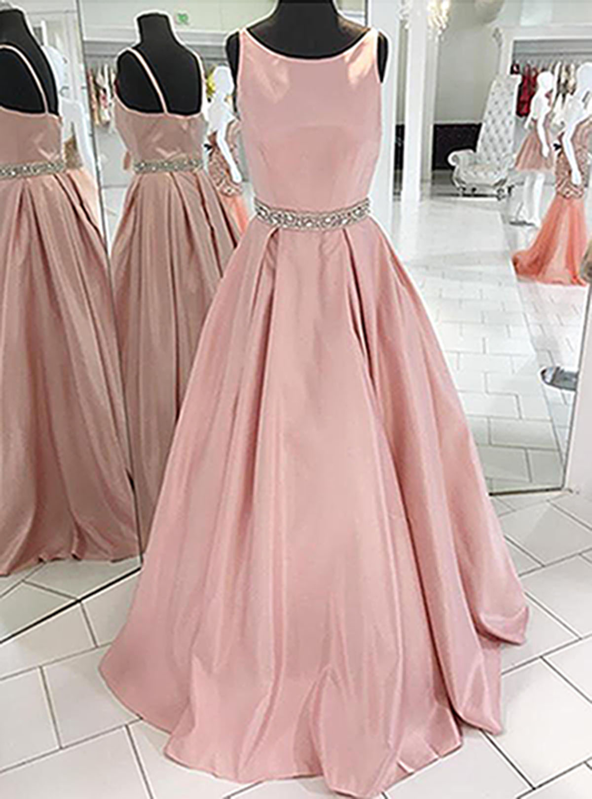 Blush pink satin beading belt open back scoop neck long spring prom ...