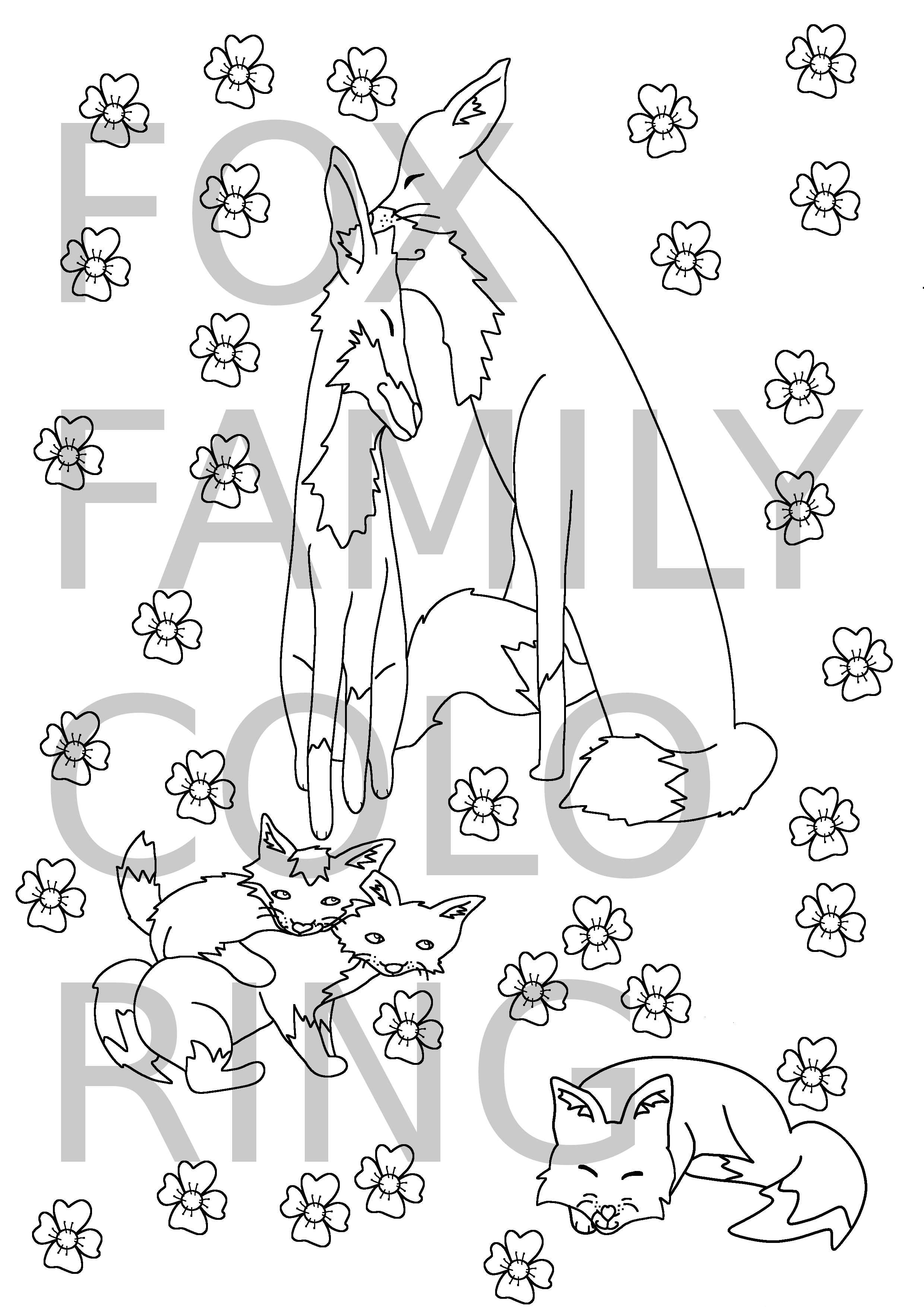 Fox Family Coloring Page · Coratison Art · Online Store Powered by ...