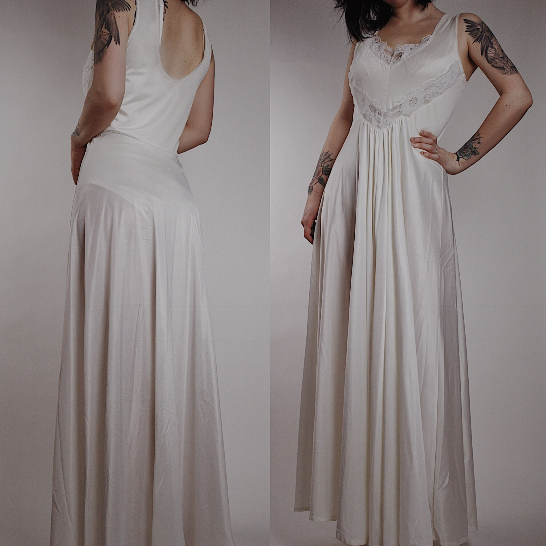 RESERVED FOR KYLIE - Vintage Cream Satin and Lace Dressing Gown ...