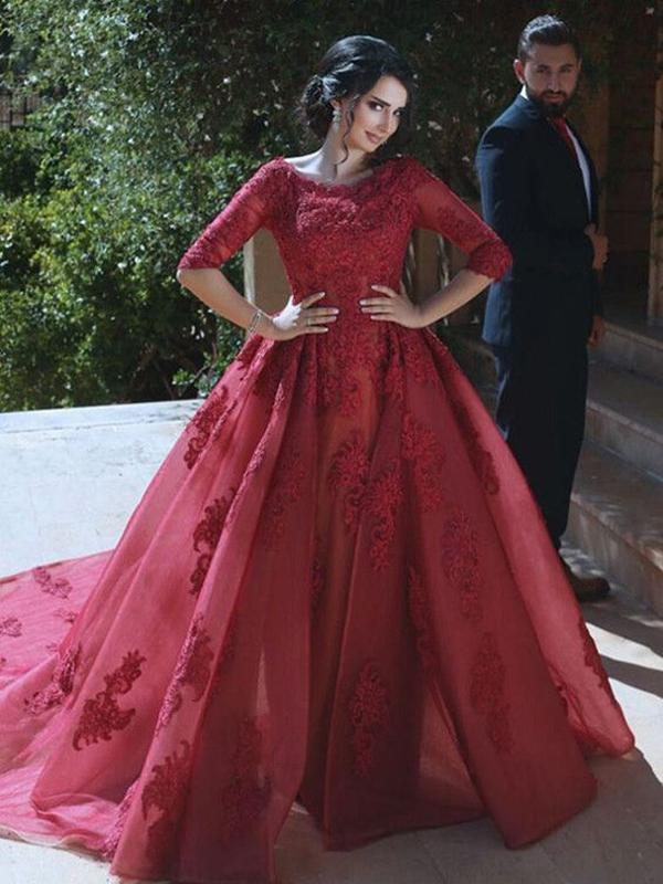 Ball Gown Boat Neck Long Sleeves Court Train Dark Red Burgundy ...
