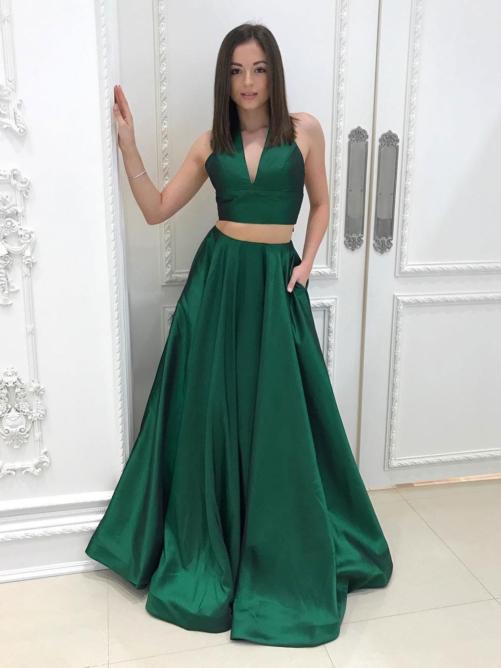 Princess Deep V neck Two-piece Prom Dress Floor Length Taffeta ...