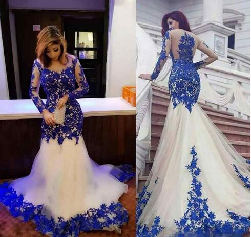 Mermaid Formal Evening Dresses Royal Blue Lace Appliques Sheer Long Sleeve Prom Dress Party Gowns Plus Size Celebrity Evening Wear From