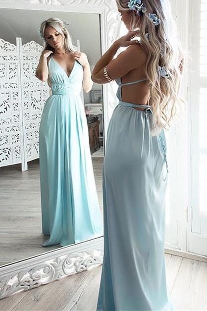 Simply Blue Boho Long Prom Dress with Cross Back · modseleystore ...