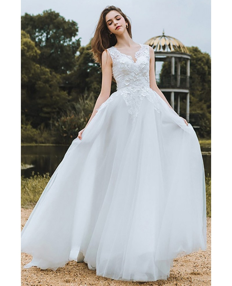 Decent A-Line V-Neck White Tulle Long Wedding Dress with Lace ...