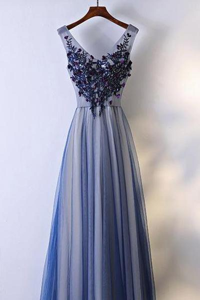 Flowing Long Prom Dress Tulle And Lace Party Dress Fss487