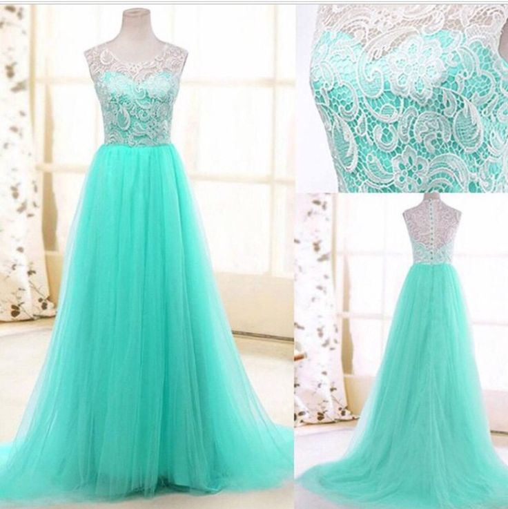 2016 Top Selling Long Charming Elegant White Lace Mint Tulle Prom ...