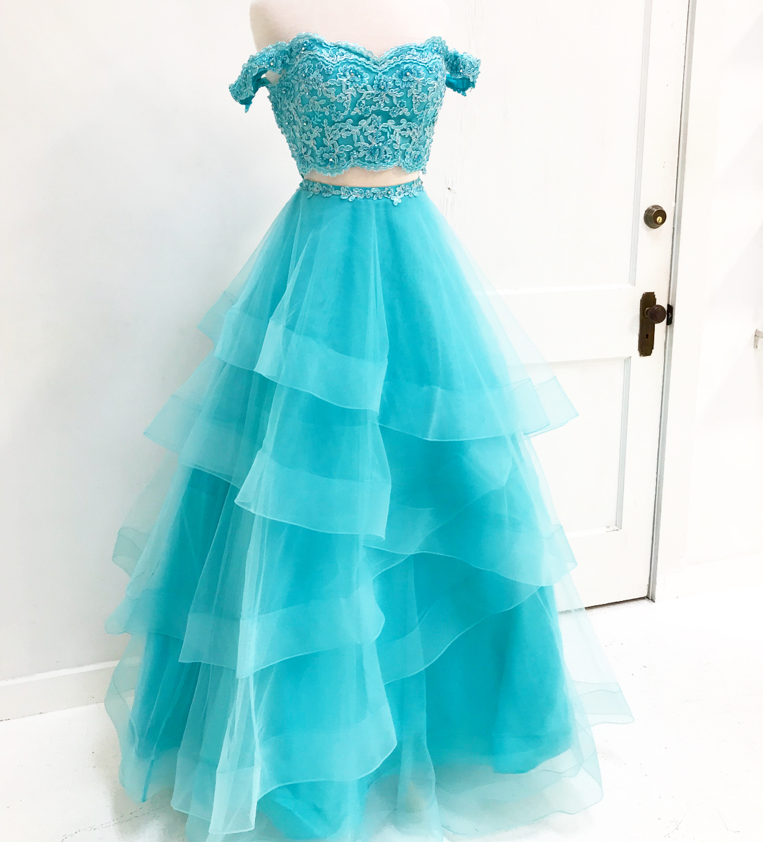 Off Shoulder Appliques Prom Dress, Sexy Two Piece Prom Dresses ...