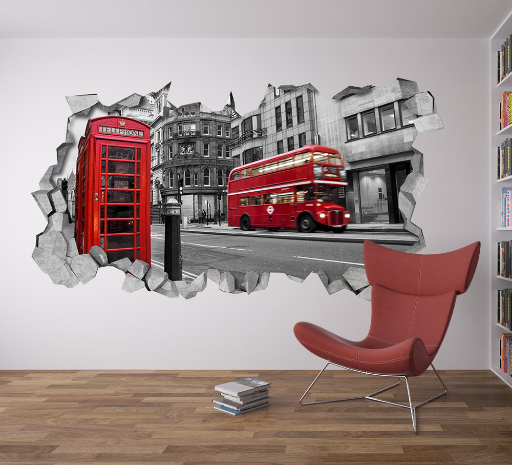 Awesome London Wall Decal 3d   Broken Wall Decal   3d Wallpaper   Wall Decal   3d