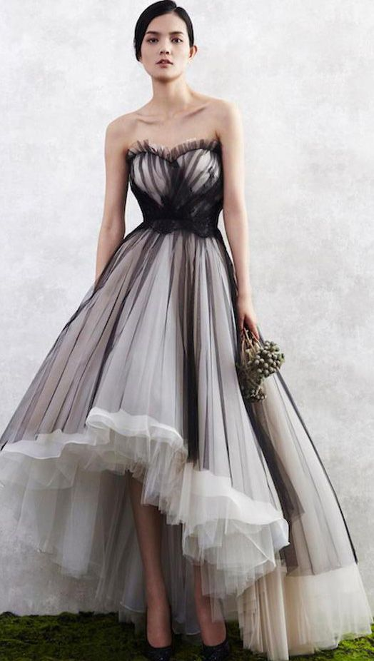 Charming Black on White Prom Dress,Sweetheart Homecoming Dress,Tulle ...