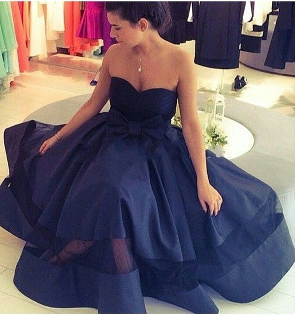 Gorgeous Sweetheart Navy Blue Long Ball Gown with Bow ...