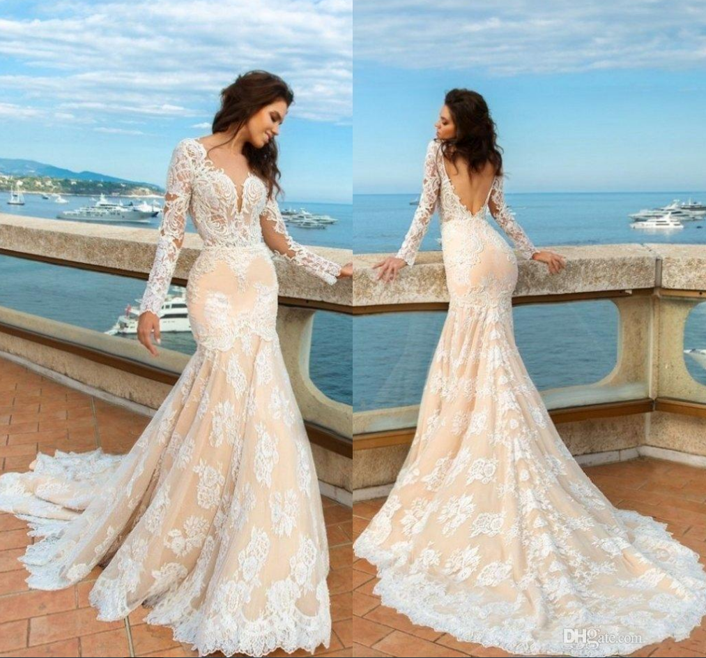 S393 Champagne Long Sleeve Appliques Open Back Mermaid Lace Wedding ...
