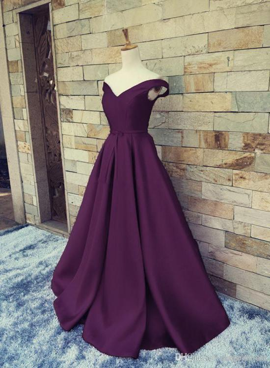 Off Shoulder Satin Long Prom Dress, Dark Purple Party Dress, Formal ...