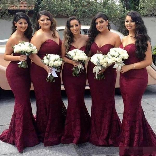 Sweetheart Neckline Strapless bridesmaid dresses, Red Wine Lace ...