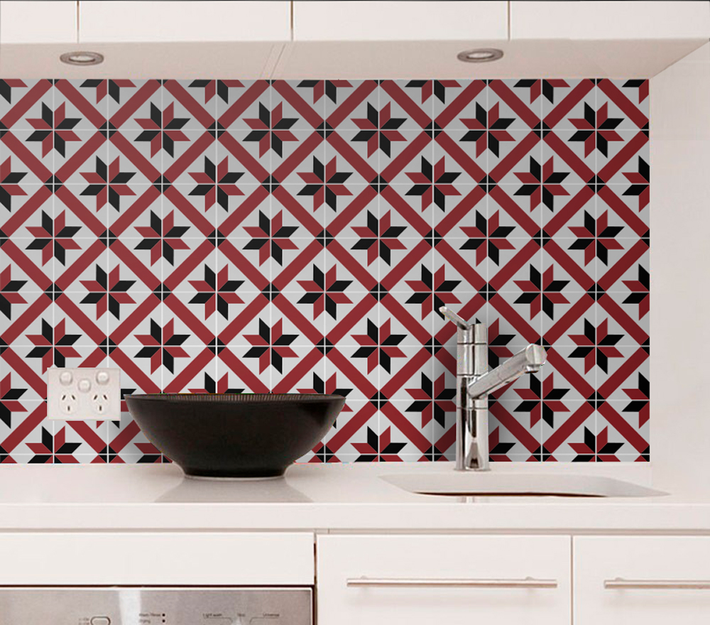 French Red and Black Wall Tiles - Floor Tiles - Tile Decals ...